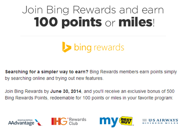 Bing Rewards 100 Free Miles Point.com Email