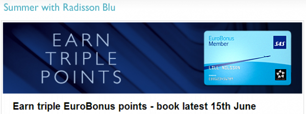 Club Carlson Radisson Blu Nordic Countries SAS Eurobonus Triple Pile April 17 - August 17 2014