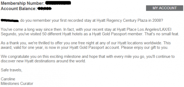 Hyatt Gold Passport Milestone Email 2014 Text