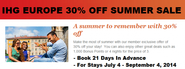 IHG Rewards Club Europe Summer Sale