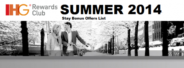 IHG Rewards Club Summer 2014 Stay Bonuses