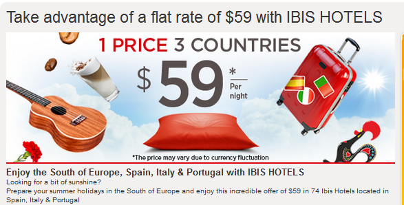 Le Club Accorhotels Ibis Spain Italy Portugal $59 June July August 2014