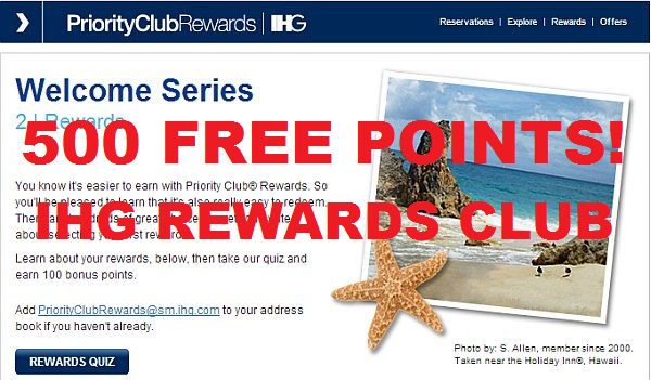 Priority Club Welcome Quizzes