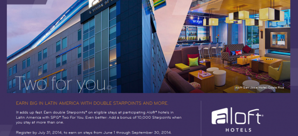 SPG Aloft Latin America Double Starpoints 10,000 Bonus Summer 2014