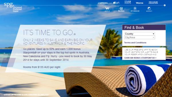 Starwood Australia Fiji New Caledonia Red Hot Deals Sale May 16-30 2014