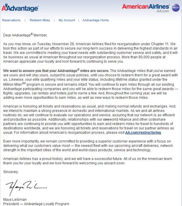 American Airlines AAdvantage Email Regarding Restructuring