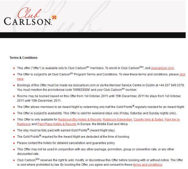 Club Carlson EMEA Offer - 50REDEEM