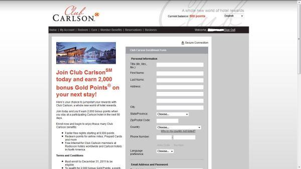 Club Carlson Joining Bonus