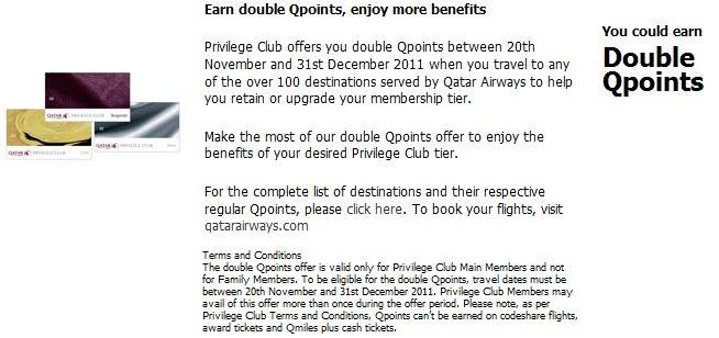 Earn Double Qpoints on Qatar Airways