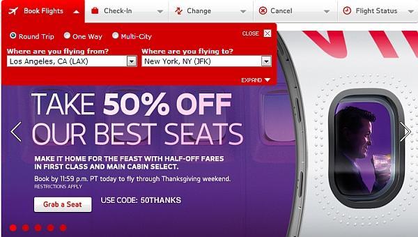 Virgin america airfare sale
