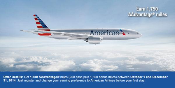 Best Western American Airlines AAdvantage 1,500 Bonus Miles Fall 2014