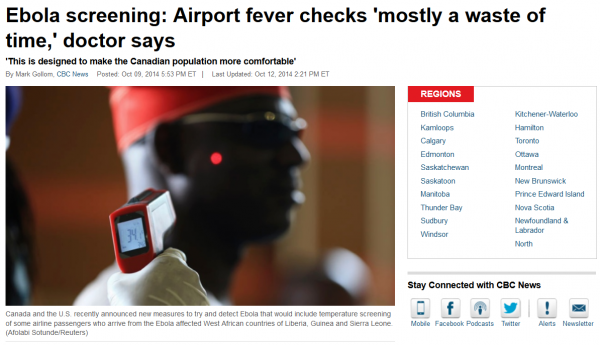 Ebola Screenings At Airports