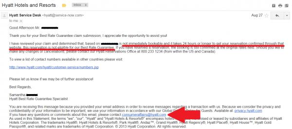 Hyatt Best Rate Guarantee Scam Reply