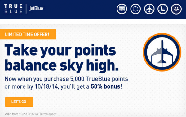 JetBlue TrueBlue Buy Points October 2014