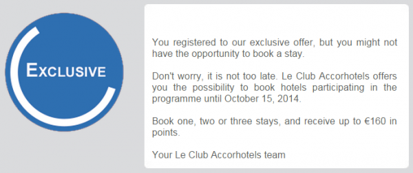 Le Club Accorhotels 8,000 Bonus Points Offer Fall 2014 Email Text