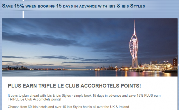 Le Club Accorhotels ibis & ibis Styles UK & Ireland Triple Points Offer Fall 2014