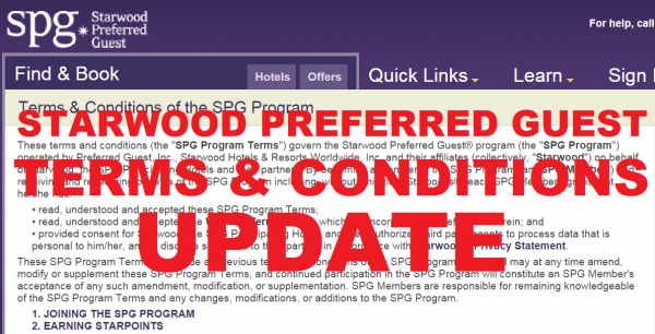 Starwood Preferred Guest Terms and Conditions Change October 15, 2014
