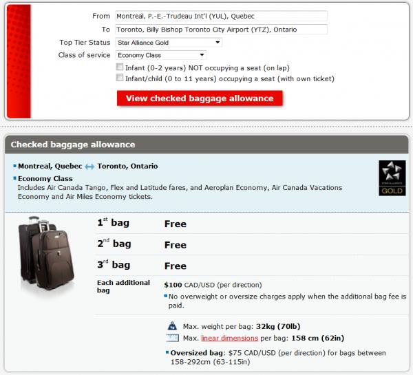 Air Canada Bag Fees Effective September 2014 Star Gold YUL-YTZ
