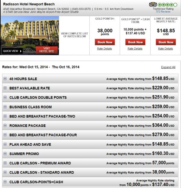 Club Carlson Triple Points Americas Fall 2014 Radisson Newport Beach