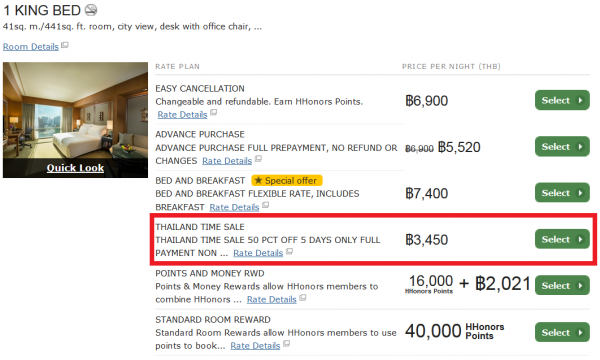 Hilton HHonors Thailand 50 Percent Off Flash Sale September 2014 Conrad Bangkok