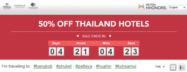 Hilton HHonors Thailand 50 Percent Off Flash Sale September 2014
