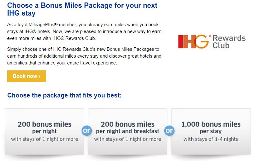 IHG Rewards Club Bonus Miles Package United