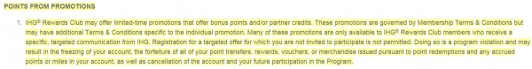 IHG Rewards Club Global Terms and Conditions Update September 2014 Points From Promotions