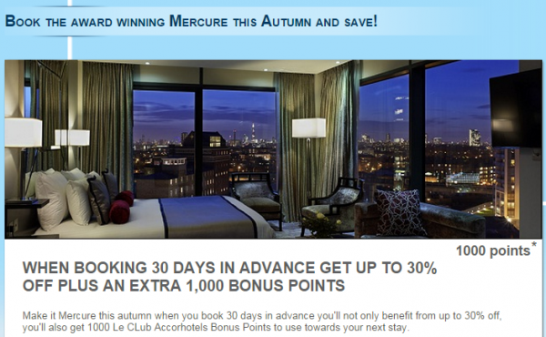 Le Club Accorhotels Mercure UK Fall 2014 1,000 Bonus Points Offer