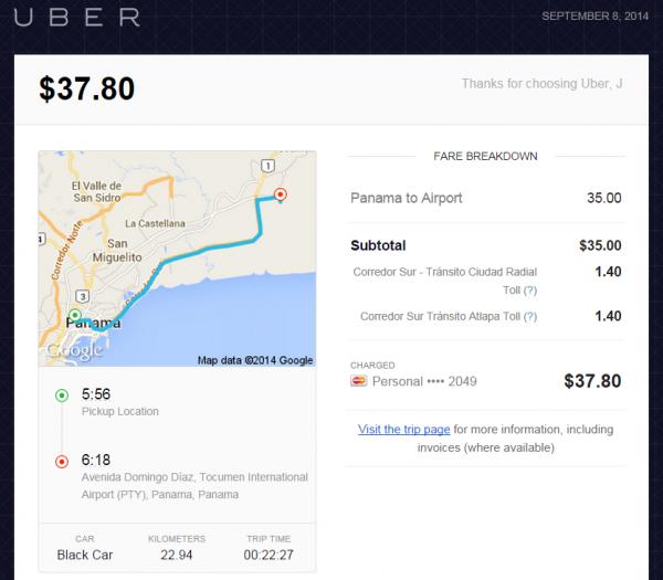 Uber Panama HGI-PTY