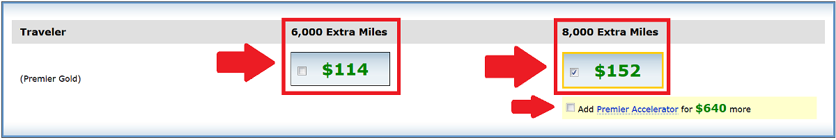 United Airlines MileagePlus Award Accelerator Price With MP Number