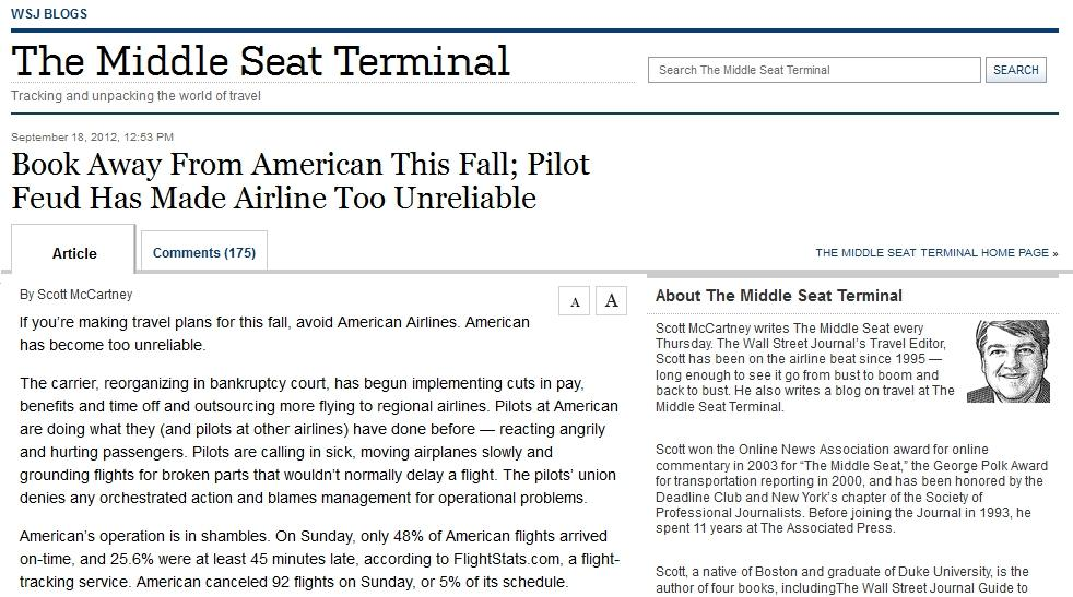 American Airlines WSJ Blog Article