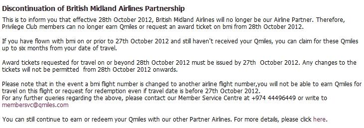 Qatar Airways BMI Announcement