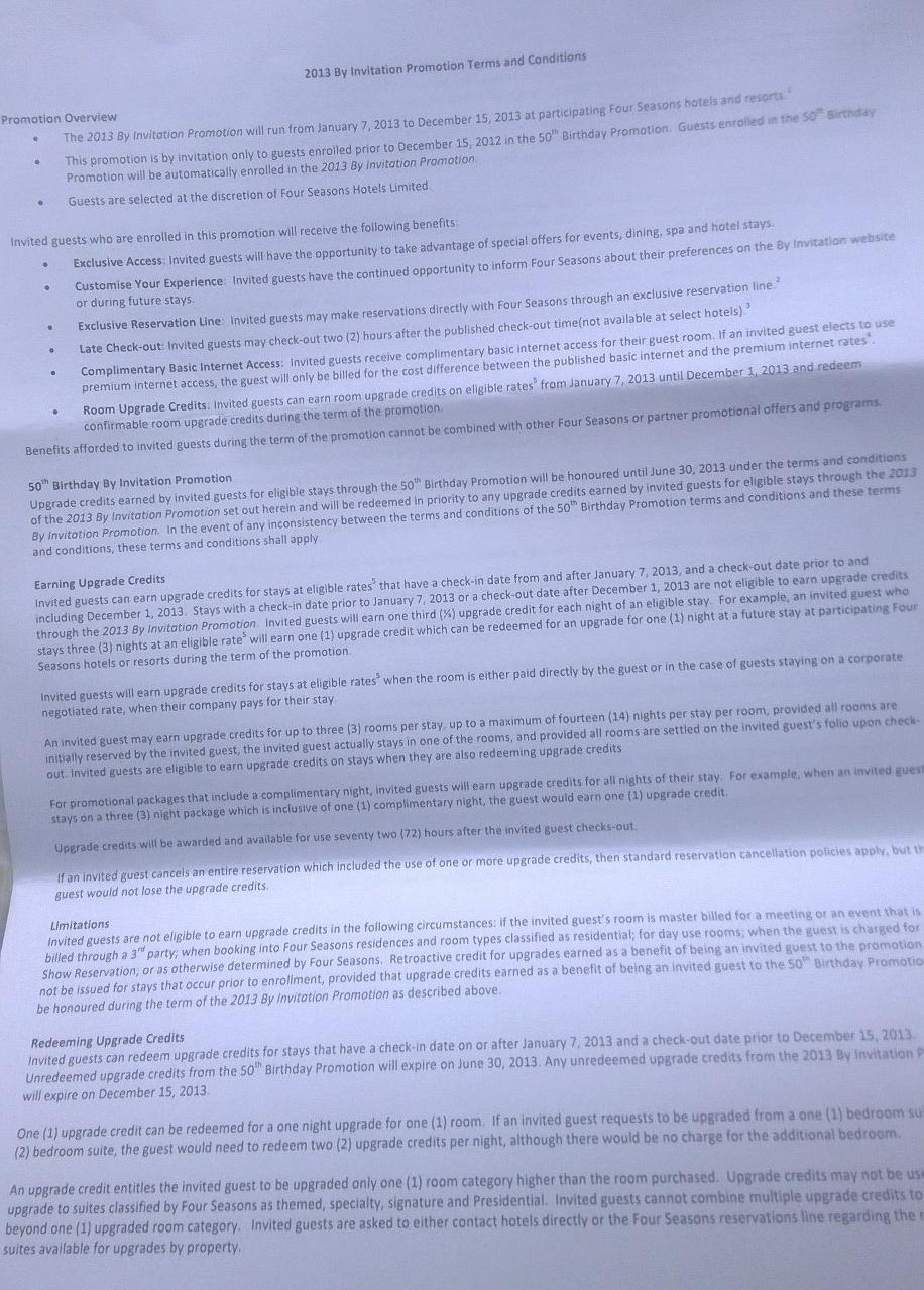 Four Seasons By Invitation Terms and Conditions 2013