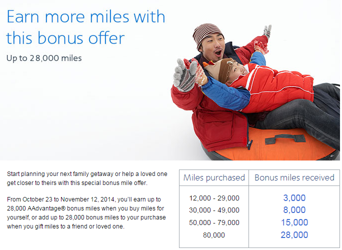 American Airlines Buy Miles October 2014