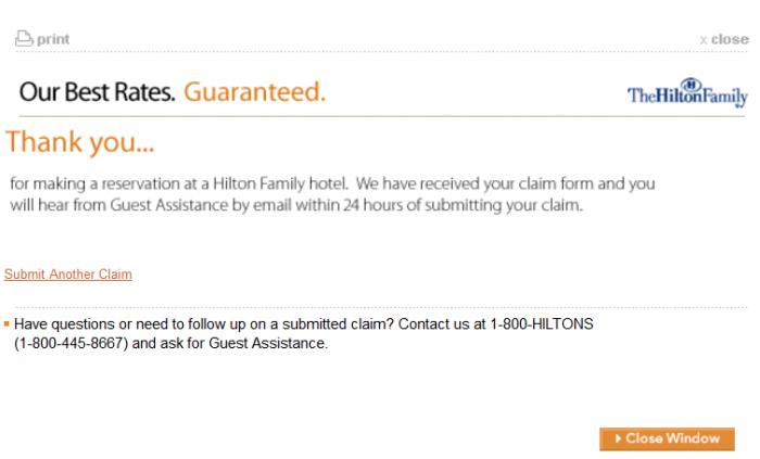 Hilton HHonors Best Rate Guarantee Hilton.com Confirmation
