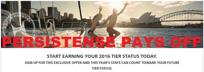 Persistence Pays Off Hilton HHonors Status Jump Star Rollover Credit Fall 2014