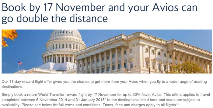 British Airways Avios 50 Percent Off Flight Discount November 2014