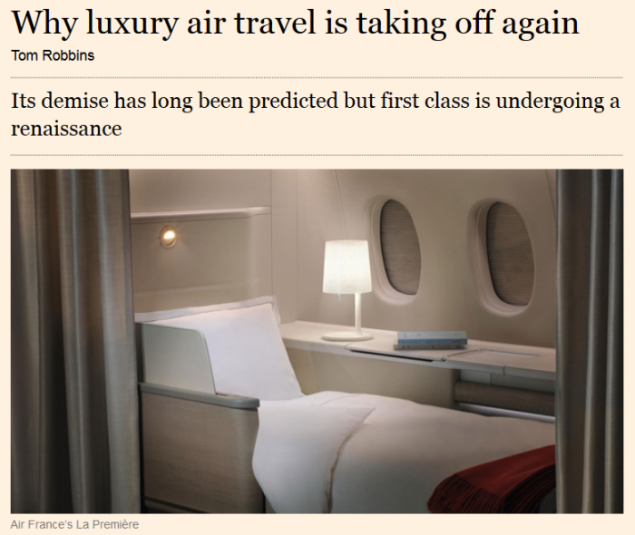 Financial Times Why luxury air travel is taking off again