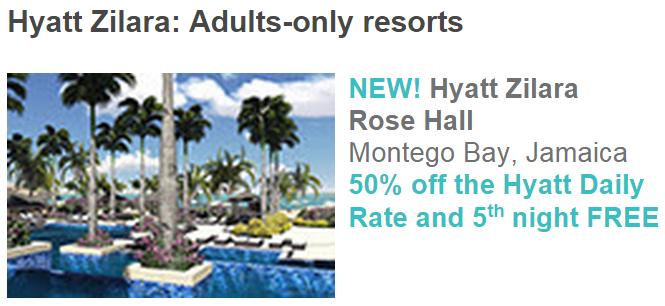 Hyatt Gold Passport Zilara Ziva 50 Percent Off Daily Rate Hyatt Zilara Rose Hall