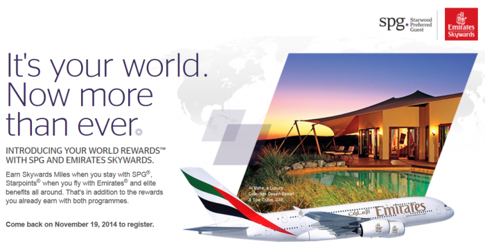 Starwood Preferred Guest (SPG) Emirates Your World Rewards New