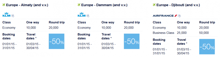 Air France-KLM Flying Blue Promo Awards January 2015 Middle East 1