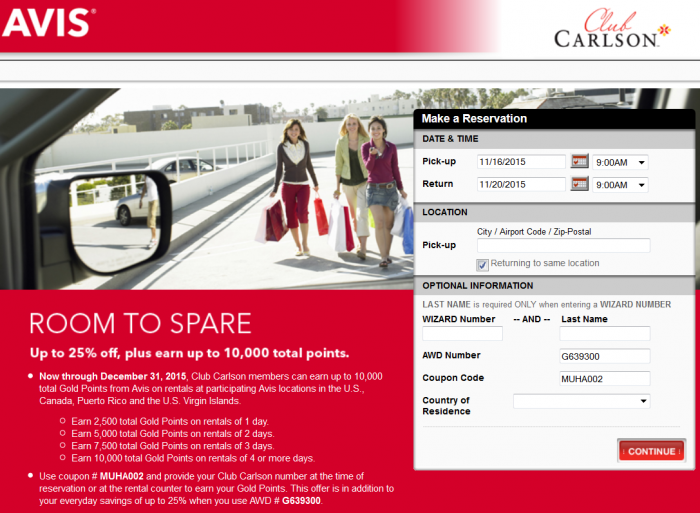 Avis Club Carlson 10,000 Bonus Points