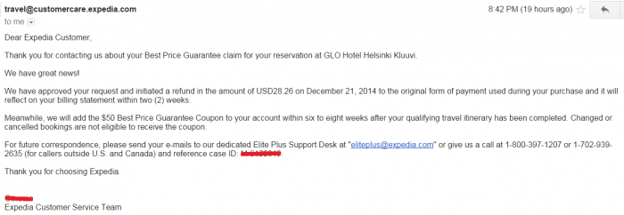 Expedia Best Price Guarantee Reply