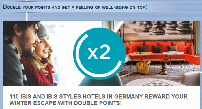 Le Club Accorhotels ibis & ibis Styles Germany Double Points December 15 - February 28, 2015