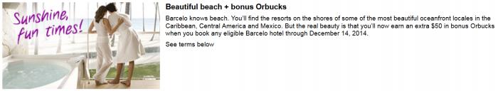 Orbitz Barcelo $50 Caribbean Central Mexico Deal