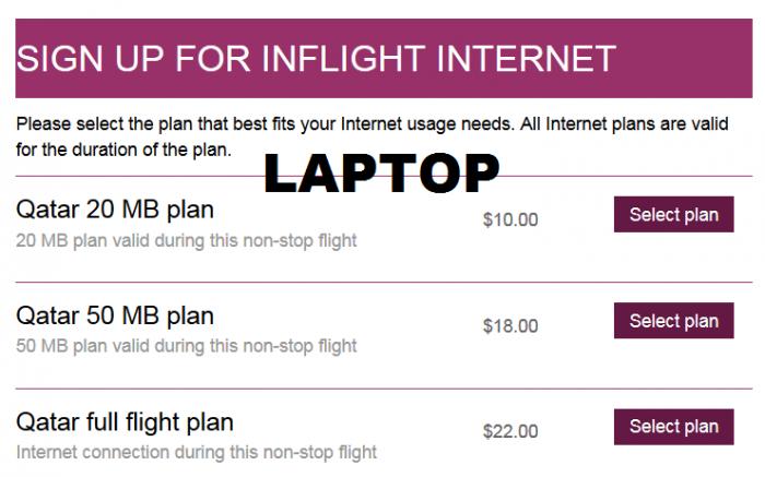 Review Qatar Airways A380 Wifi OnAir Price Laptop