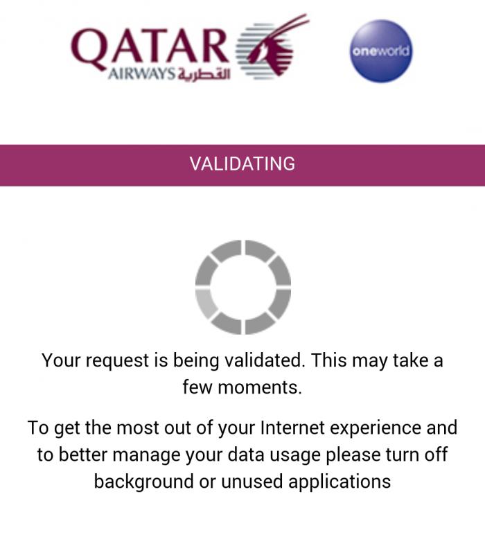 Review Qatar Airways A380 Wifi OnAir Validating