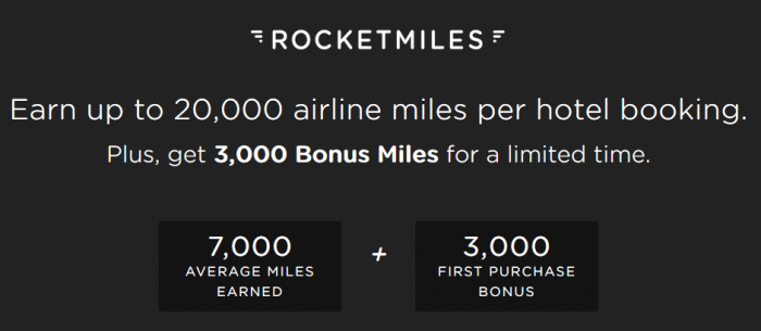 Rocketmiles First Booking Bonus 3,000 Miles All Partners