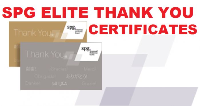 SPG Elite Thank You Certificates