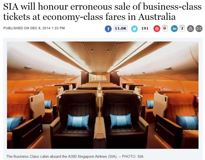 Singapore Airlines Fare Sale Australia